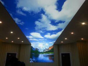 потолок плавно переходит стена